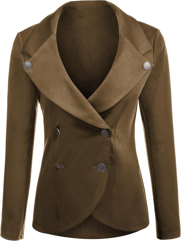 ELESOL Womens Slim Fit Blazer Casual Work Double Breasted Peplum Crop Jacket