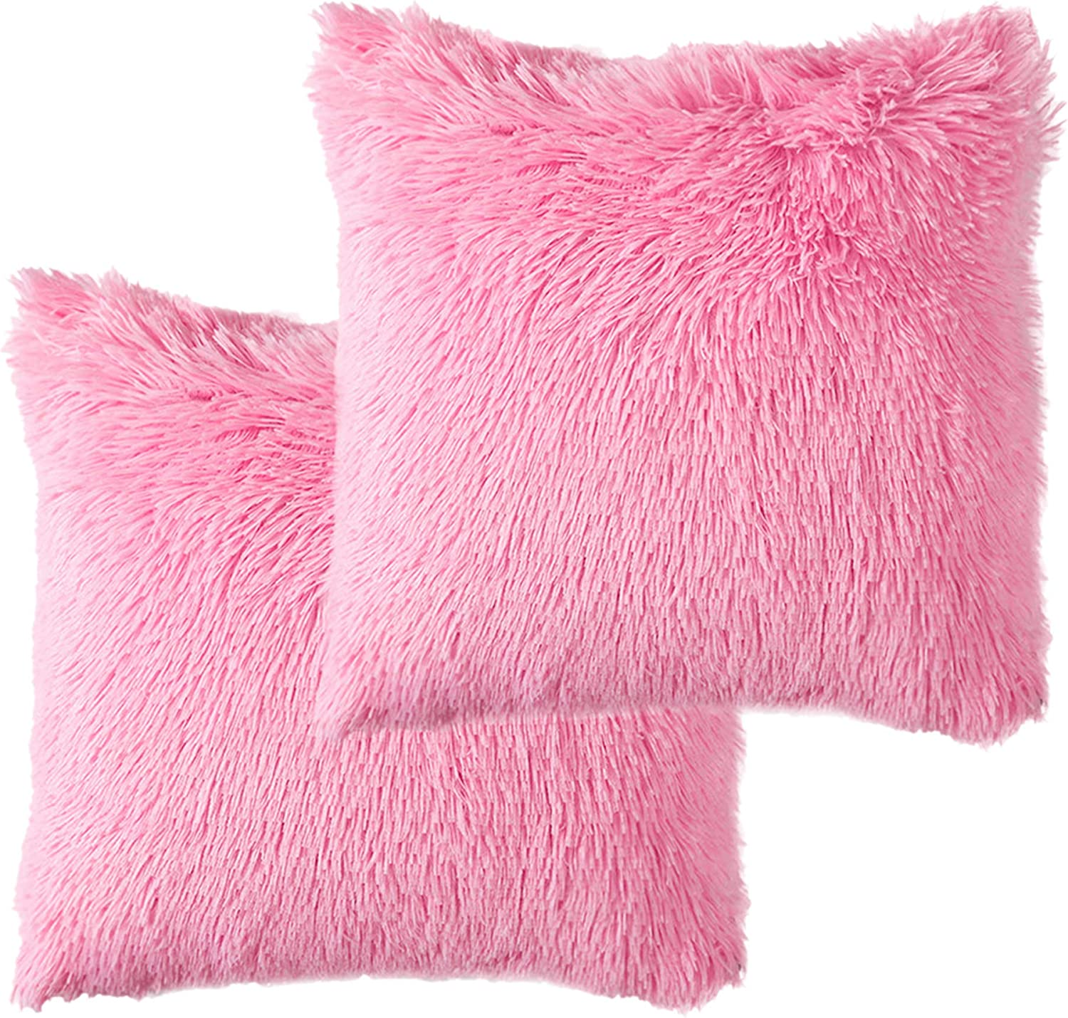 HEYDOO Fluffy Throw Pillow Covers 16 Inch Faux Fur Cushion Cover Square Decorative Shag Pillow Case for Sofa Bed Car Couch Office Home Decor Set of 2 (Pink)