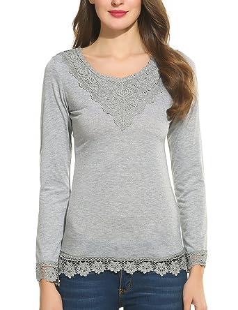 daa4244e6564aa Parabler Damen Elegant Langarmshirt mit Spitze T Shirt Rundhals Spitzenshirt  Slim Fit Oberteile Tunika Bluse Top Für Herbst: Amazon.de: Bekleidung