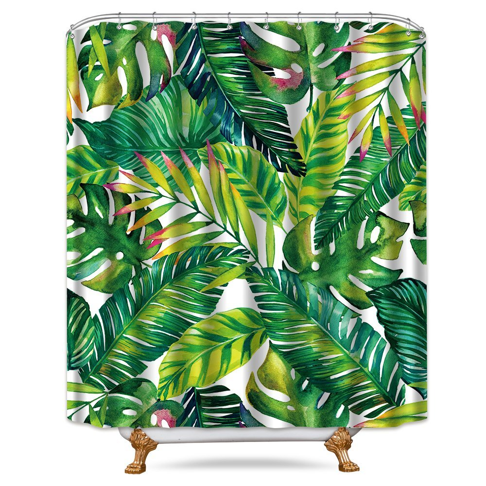 Cdcurtain Green Banana Leaf Shower Curtain 72x78 inch Free Metal Hooks 12-Pack Tropical Palm Tree Leaves Decor Fabric Set Polyester Waterproof Bathroom