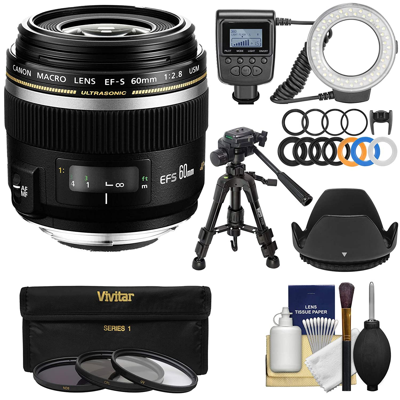 Canon EF - S 60 mm f / 2.8マクロUSMマクロレンズRinglight +三脚+ 3 UV/CPL / nd8フィルタ+フード+キット   B00LPSKXKI