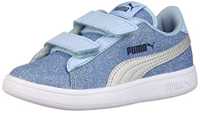 PUMA Unisex Smash Glitz Glam Velcro Sneaker Cerulean Silver 9bd21bad3