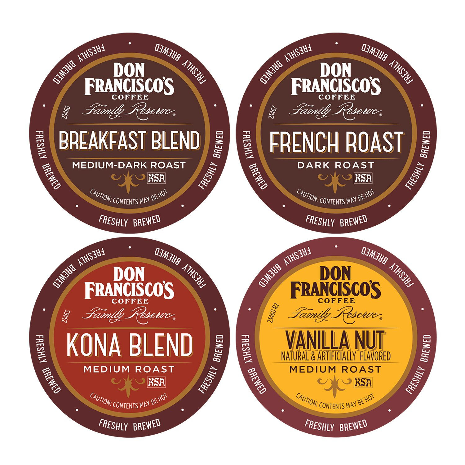 Don Francisco's Variety Pack (Breakfast Blend, French Roast, Kona Blend, and Vanilla Nut), Premium 100% Arabica Coffee Beans, Single-Serve Pods for Keurig, Family Reserve, 4X12 Count (48 Total)