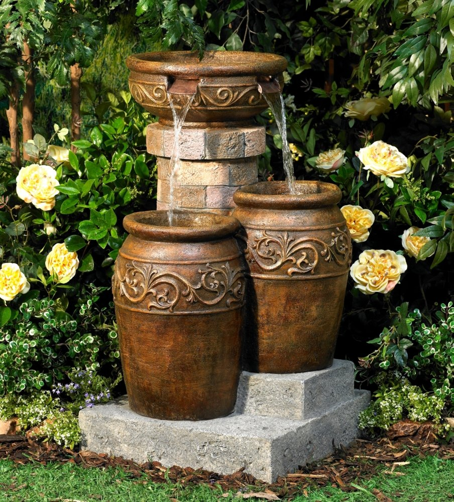 Perfect Amazon.com: Tuscan Faux Stone 31 1/2u0026quot; High Patio Floor Fountain: Home  U0026 Kitchen