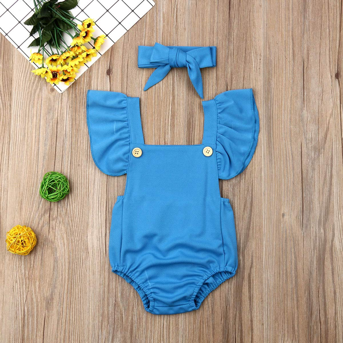 Dookingup Toddler Infant Baby Girls Fly Sleeve Polka Dots Romper Collar Buttons Jumpsuit Backless Bodysuit Summer Outfits