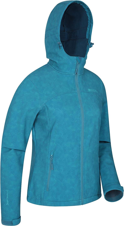 leicht Taschen auf Reisen Winddicht verstellbar Mountain Warehouse Exodus Wasserabweisende Damen-Regenjacke aus bedrucktem Softshell f/ür den Sommer