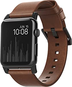 Nomad Modern Strap for Apple Watch 44mm/42mm | Rustic Brown Horween Leather | Black Hardware