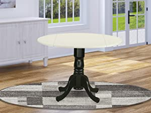 "East West Furniture DLT-LBK-TP Dublin Round Table with two 9"" Drop Leaves in Linen White and Black Finish"
