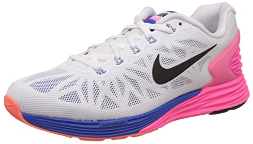 official photos 841a0 74637 Nike Women s Lunarglide 6 White, Black, Hyper Pink and Hyper Cobalt Running  Shoes -