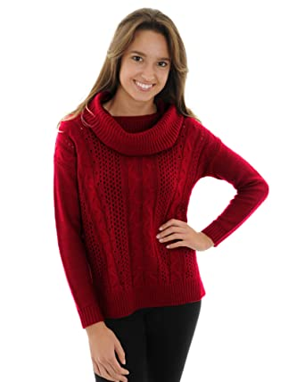 Unique Swiss Red Cable Knit Sweater Womens Cowl Neck Stunning ...