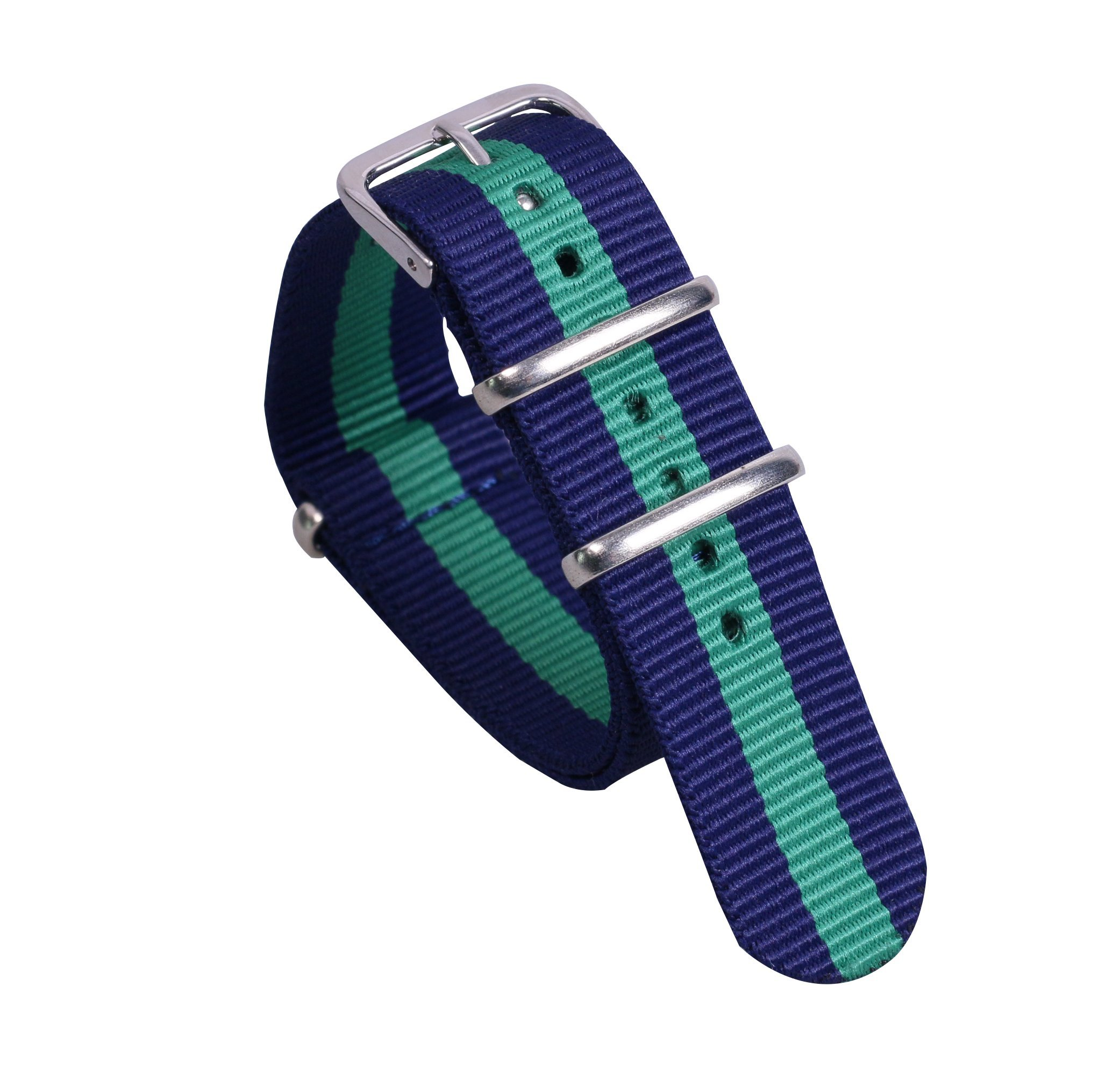 12mm Dark Blue/Green/Dark Blue Elegant Soft NATO style Nylon Watch Band Strap Replacement for Women