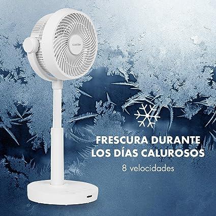 KLARSTEIN Neo Stream - Ventilador de pie, Ángulo de inclinación Vertical 90º, Oscilación Horizontal 60º Opcional, 8 velocidades, Temporizador, Control táctil, 30W, Silencioso: 33-58 dB, Blanco: Amazon.es: Hogar