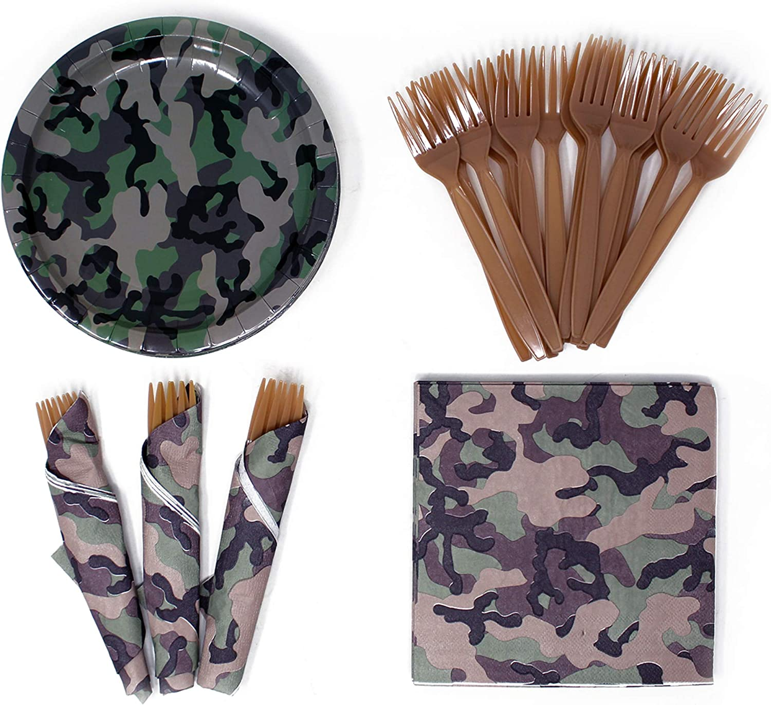 Camo Value Party Supplies Pack (58+ Pieces for 16 Guests), Value Party Kit, Camouflage Party Plates, Camo Birthday, Napkins, Forks, Tableware