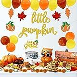 Little Pumpkin Party Decorations, Pumpkin Cake Topper Pumpkin Banner Latex Balloons for Fall Baby Shower Baby Boys Girls Birt