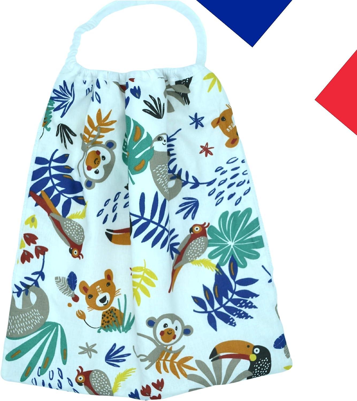 avec attache pression; serviette animaux et alphabet doubl/ée tissu coton Serviette de table enfant