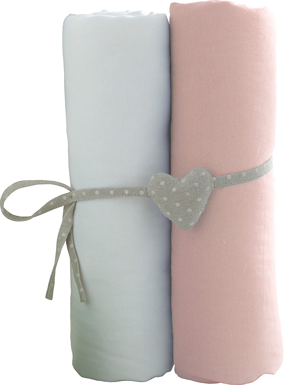 Babycalin lot de 2 Draps Housse Blanc/Rose 60 x 120 cm BBC413714