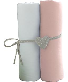 Babycalin lot de 2 Draps Housse Blanc/Rose 60 x 120 cm