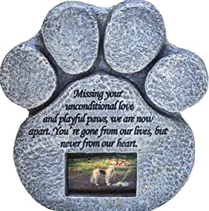 Paw Print Pet Memorial Stone - Features Sympathy Poem - Indoor Outdoor Dog or Cat for Garden Backyard Marker Grave Tombstone - Loss of Pet Gift - Loss of Dog Gift