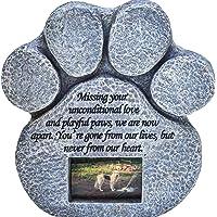 Paw Print Pet Memorial Stone - Features Sympathy Poem - Indoor Outdoor Dog or Cat for Garden…