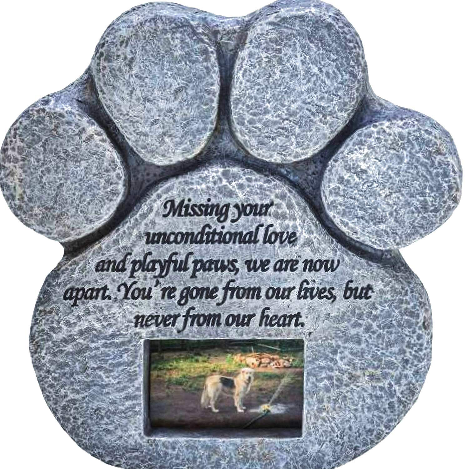 Paw Print Pet Memorial Stone- Features a Photo Frame and Sympathy Poem. Made of Weatherproof Resin. Indoor Outdoor. Dog or Cat. For Garden, Backyard, or House