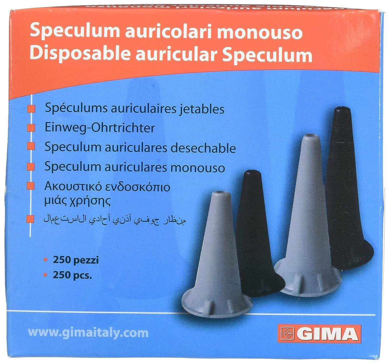 GIMA ref 31487 Auriculares Speculum desechables, Ø 2.5 mm, sin latex, color negro, compatibles con otoscopios profesionales de serie