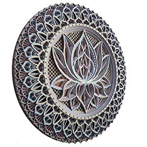 Tria Home Wall Decor - Multilayered Laser Cut Carved Elegant Wooden Lotus Flower Mandala Hanging MDF Panels for Room Decoration - Rustic Shabby Contemporary Artwork for Living Room, Bedroom and Office