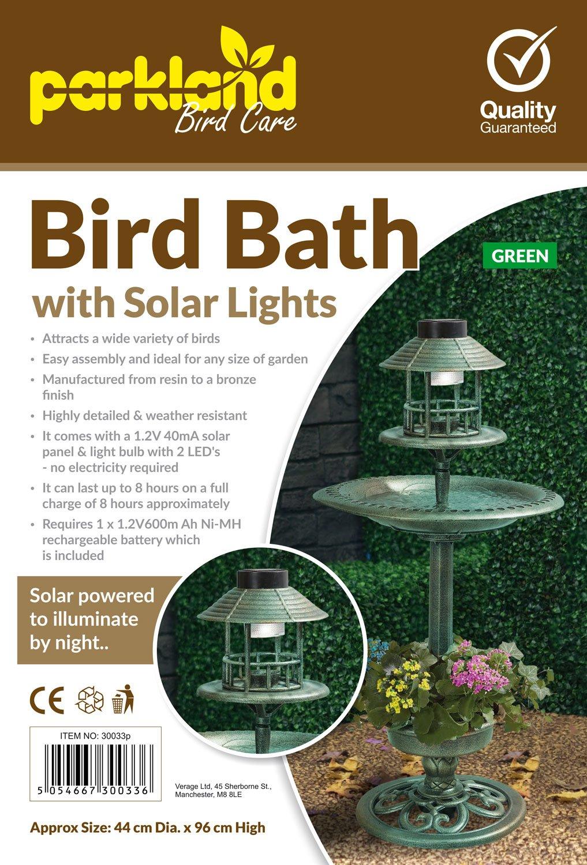 Vasca e mangiatoia per uccelli in bronzo con lampada a energia solare Parkland