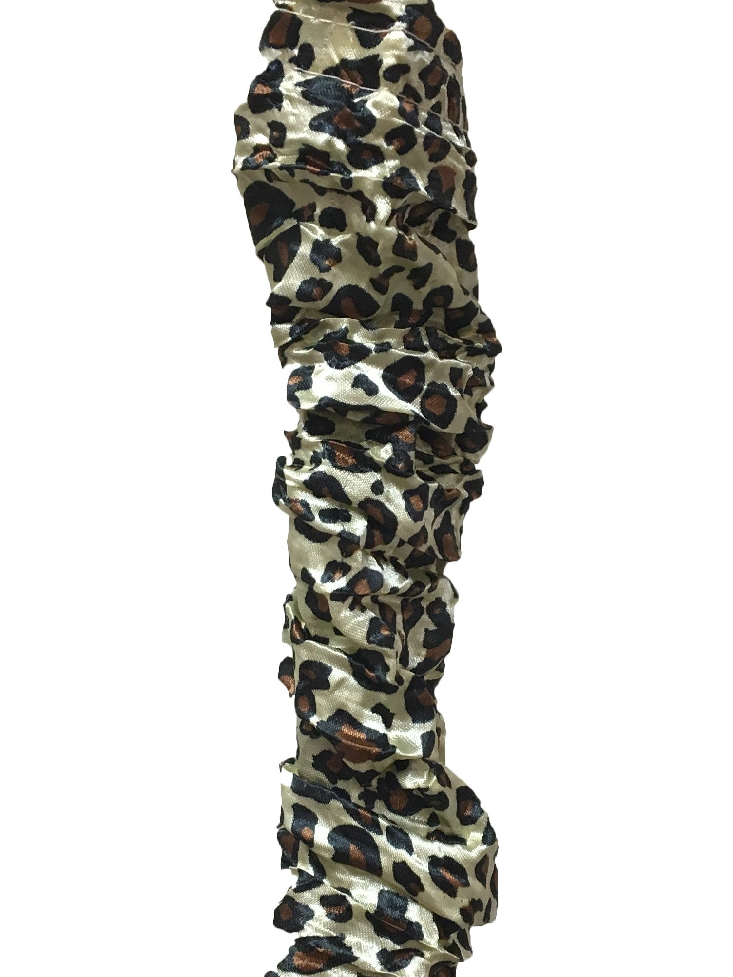 Royal Designs Leopard Animal Print Cord & Chain Cover- 4 Feet- Silk-Type Fabric Touch Fastener - Use for Chandelier Lighting Wires (CC-28-LPBR)