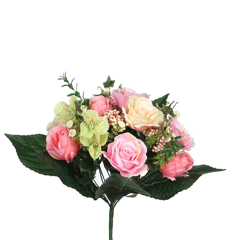 MICA Decorations 1026591Rose Bouquet Rose Mix–L33cm Bouquet de Fleurs Rose Multicolore 24x 24x 33cm Edelman