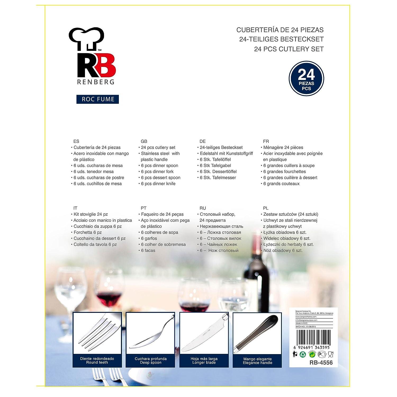 Renberg Roc Fume Cubertería de 24 Piezas en Acero Inoxidable, poliestireno, Negro: Amazon.es: Hogar