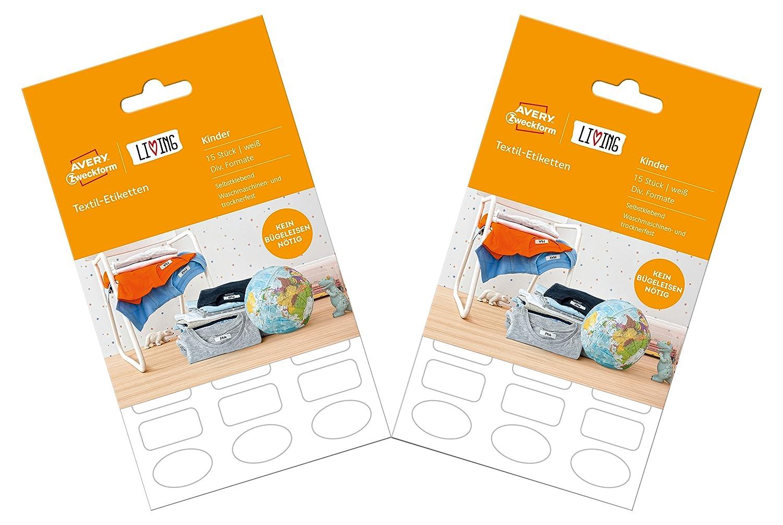 AVERY Zweckform 62039 Living Etiketten zur Kennzeichnung von Stiften 96 St/ück wei/ß 3 Motive, 31 x 6 mm