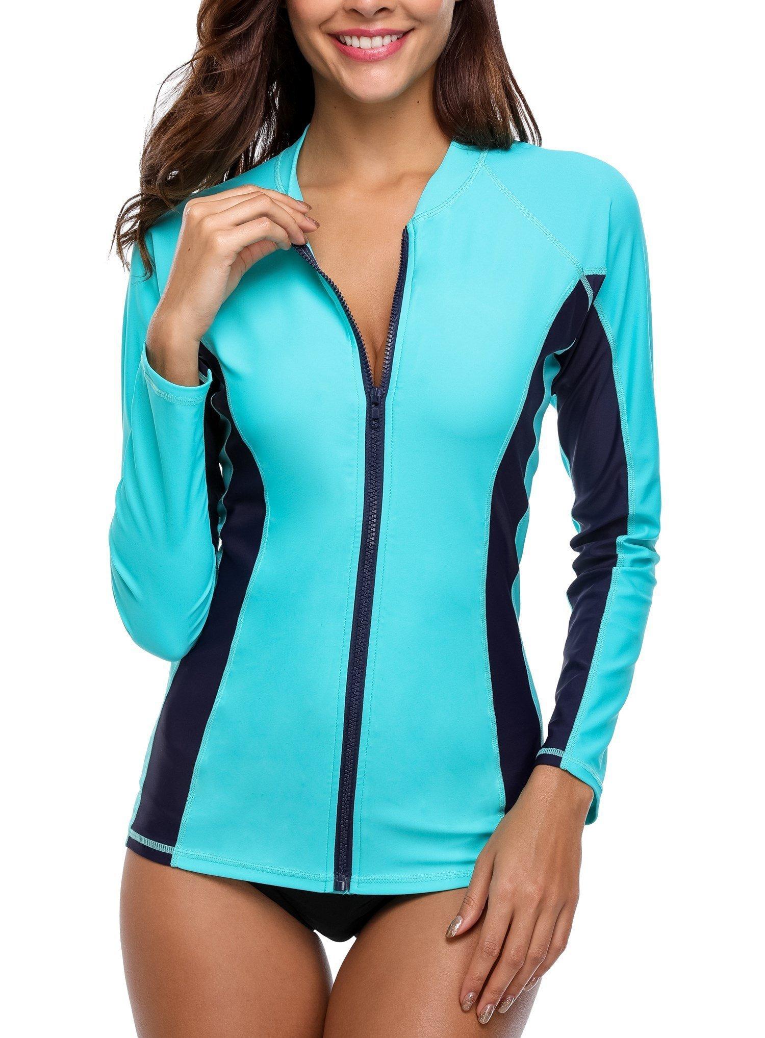 Anwell Zipped Sun Protective Shirt Long Sleeve Swim Tops Aqua XX-Large