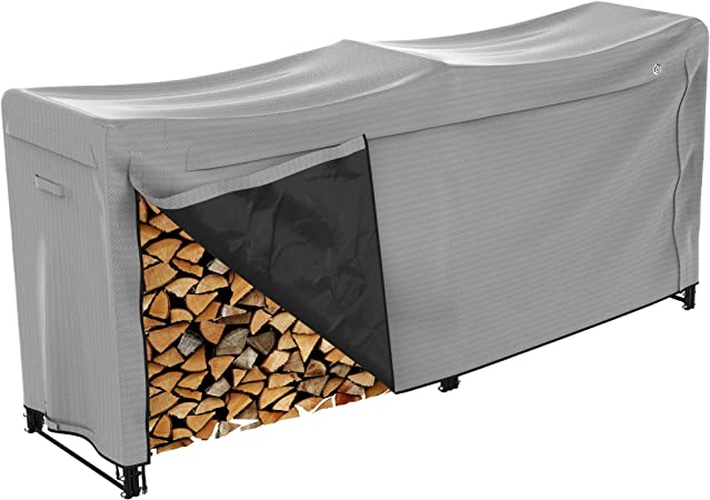 RedSwing Firewood Rack Cover 8 Ft Log Rack Cover Heavy Duty and Water Resistant 600D Oxford Firewood Cover All Weather Protection Black