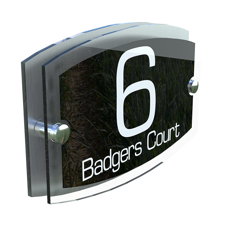 MODERN HOUSE SIGN PLAQUE DOOR NUMBER STREET GLASS EFFECT ACRYLIC ALUMINIUM NAME - ESTA5-8WB K Smart Sign Ltd