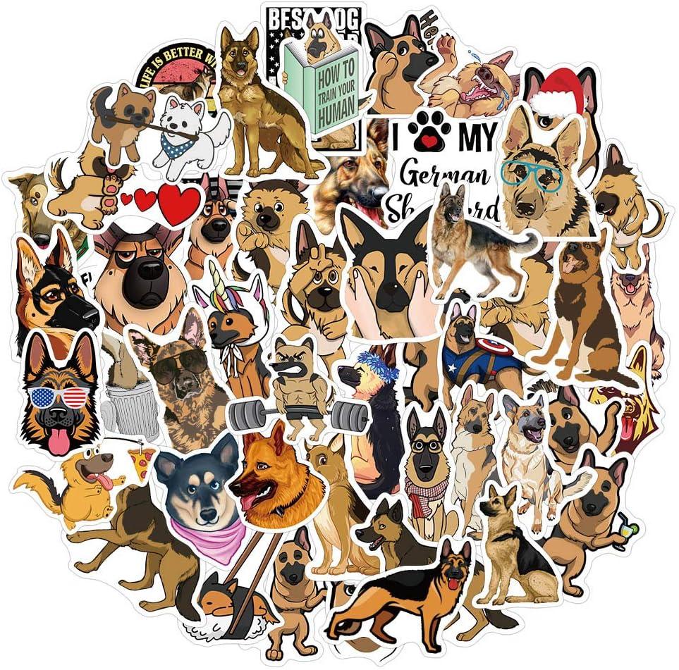 German Shepherd Dog Stickers for Water Bottle Laptop Hydro Flask,Waterproof Vinyl Sticker Decals for Adults (German Shepherd Stickers 50pcs)