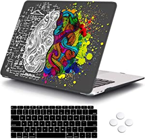DQQH MacBook Air 13 Inch Case 2020 2019 2018 Release A2179 A1932 with Touch ID Retina Display, Plastic Hard Shell Case and Keyboard Cover for Newest Mac Air 13'' - Brain