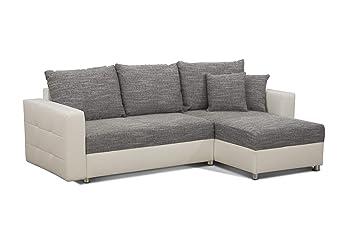 cavadore schlafsofa caaro mit recamiere links oder rechts couch mit schlaffunktion und bettkasten materialmix