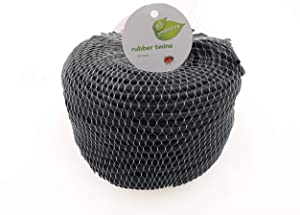 TIPU Soft Rubber Garden Twine, Soft Stretch Plant and Tree Tie, Hollow Stretch Rubber Twine Expands with The Growth Plant/Fruit Tree, w/Cutter, Black, 262 FT