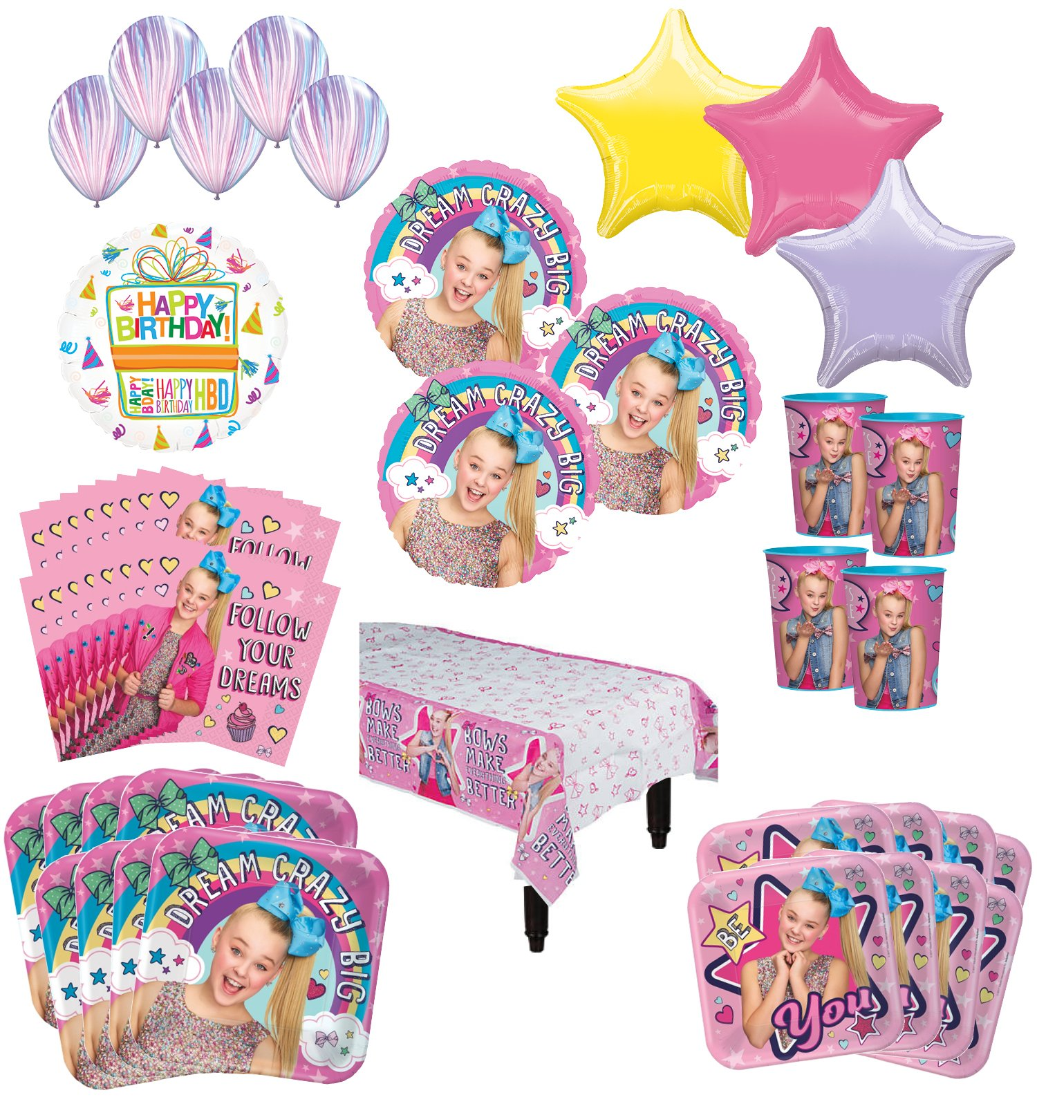 JoJo Siwa Birthday Party Supplies 8 Guest Kit and Balloon Bouquet Decorations