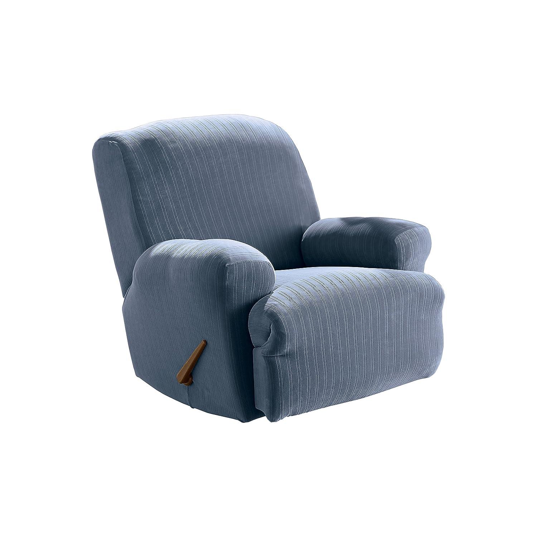 Excellent Surefit Stretch Pinstripe 1 Piece Recliner Slipcover French Blue Creativecarmelina Interior Chair Design Creativecarmelinacom