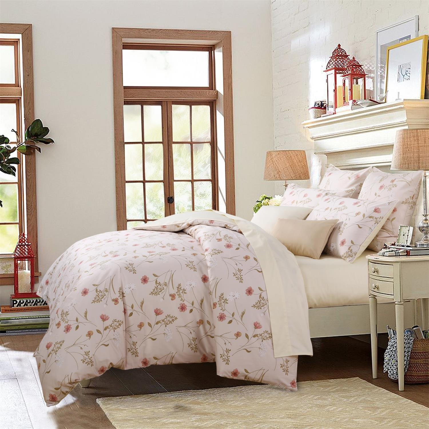 Brandream Farmhouse Bedding 3 Piece Floral Duvet Cover Set