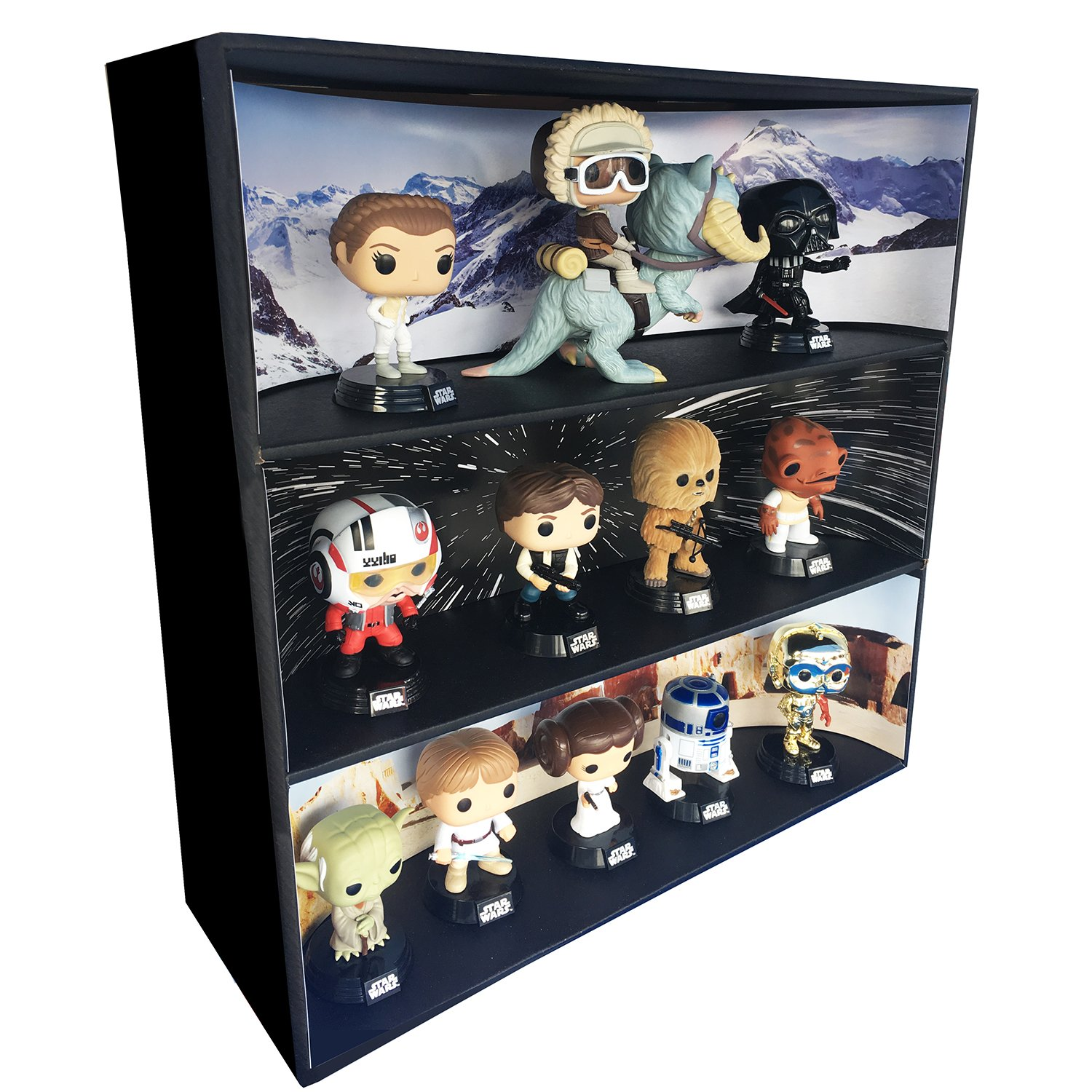 1 Display Geek Exclusive Stackable Toy Shelf for 4 in. Funko Pops with 3 backdrop inserts, Black Corrugated Cardboard
