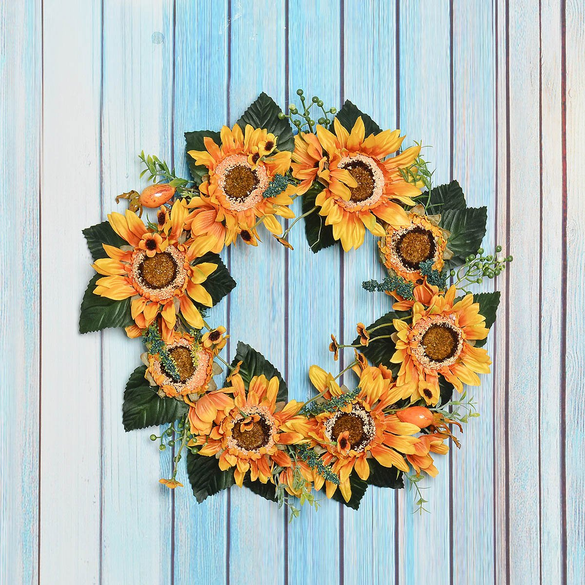 FAVOWREATH 2018 Vitality Series FAVO-W69 Handmade 14 inch White Stamen Sunflowers,Leaf Grapevine Wreath for Summer//Fall Front Door//Wall//Fireplace Wedding Floral Hanger Home Natural Decor