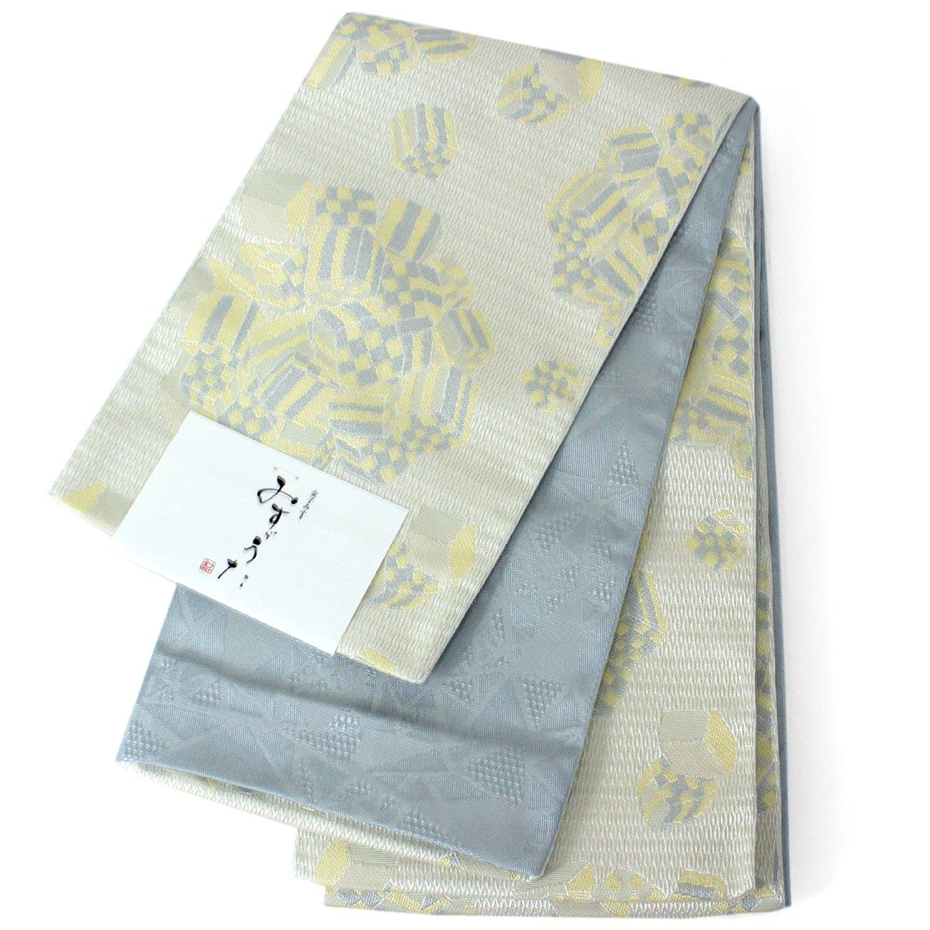 きもの京小町 帯 レディース 単品 みすゞ 半幅帯 浴衣 リバーシブル 長尺 金子みすゞ B07DMY1KMR 薄黄グレーサイコロ 薄黄グレーサイコロ