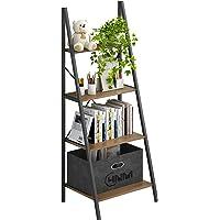 4NM Industrial 4-Tier Ladder Shelf, Metal Bookshelf Multifunctional Plant Flower Stand Storage Rack Shelves Bookcase for…