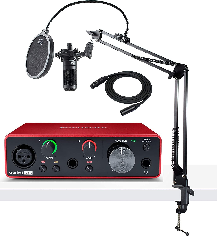 Focusrite Scarlett Solo - Interfaz de audio USB de 3ª generación con micrófono AT2035, soporte Knox Studio, filtro Pop y cable XLR (5 unidades): Amazon.es: Instrumentos musicales