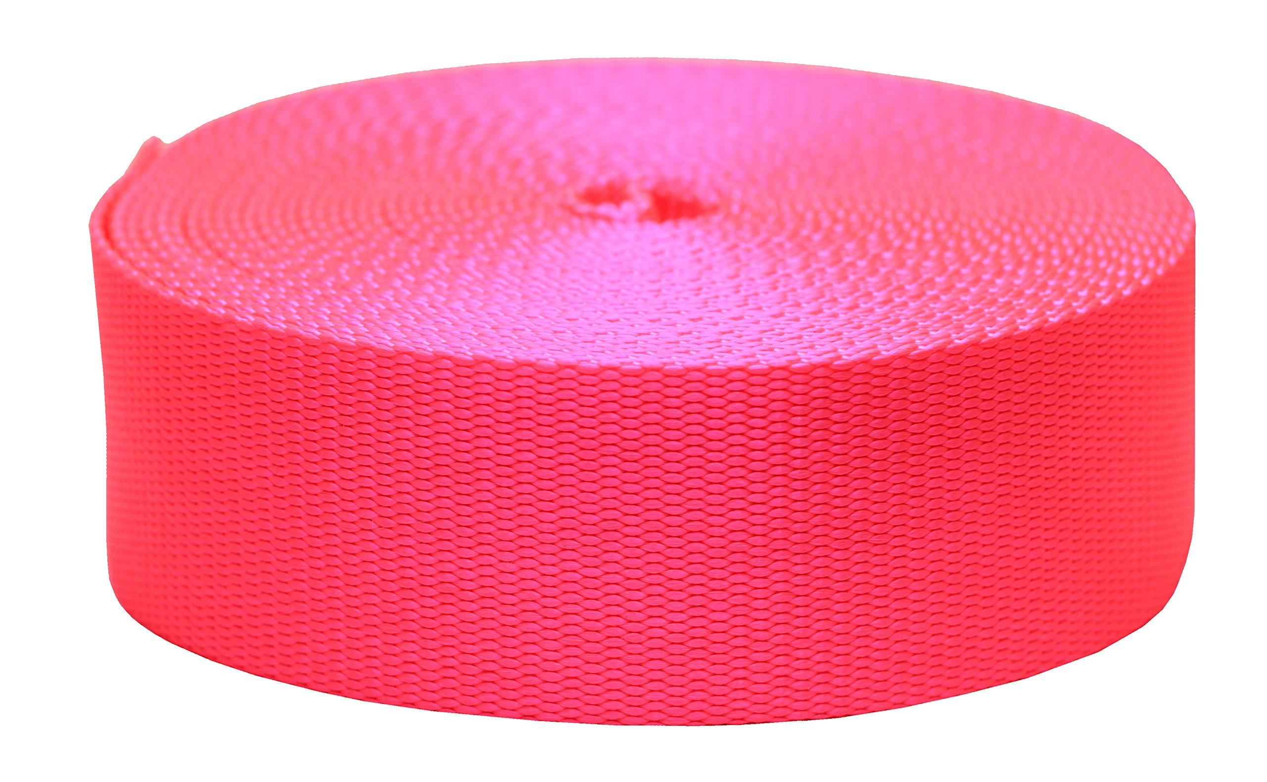 Strapworks Colored Flat Nylon Webbing - Strap For Arts And Crafts, Dog Leashes, Outdoor Activities - 2 Inches x 20 Yards, Hot Pink by Strapworks