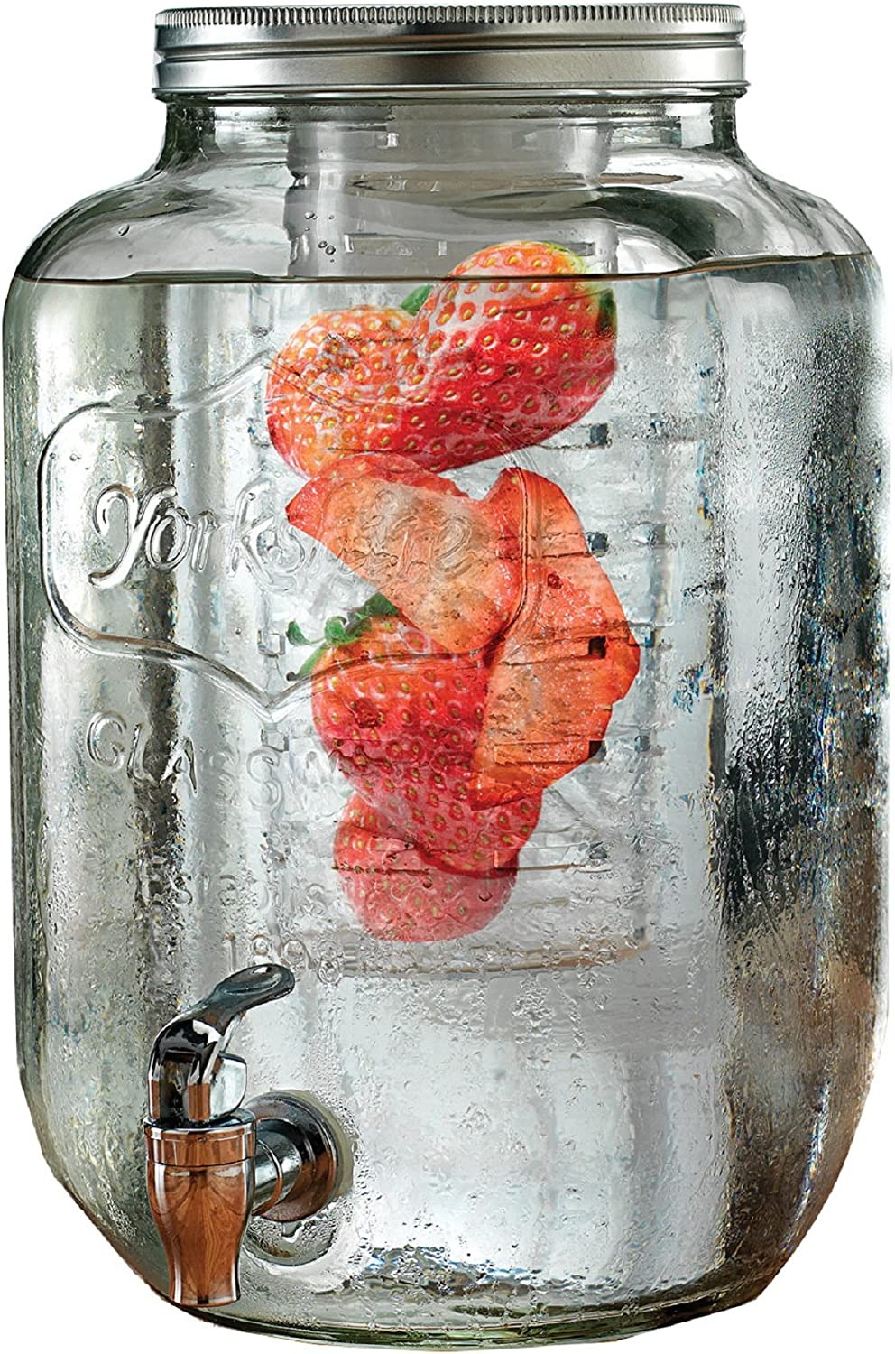 Circleware Sun Tea Mason Jar Beverage Dispenser with Fruit Infuser, Ice Insert and Metal Lid, Entertainment Glassware Water Pitcher for Juice, Beer & Cold Drinks, Huge 2 Gallon, Yorkshire