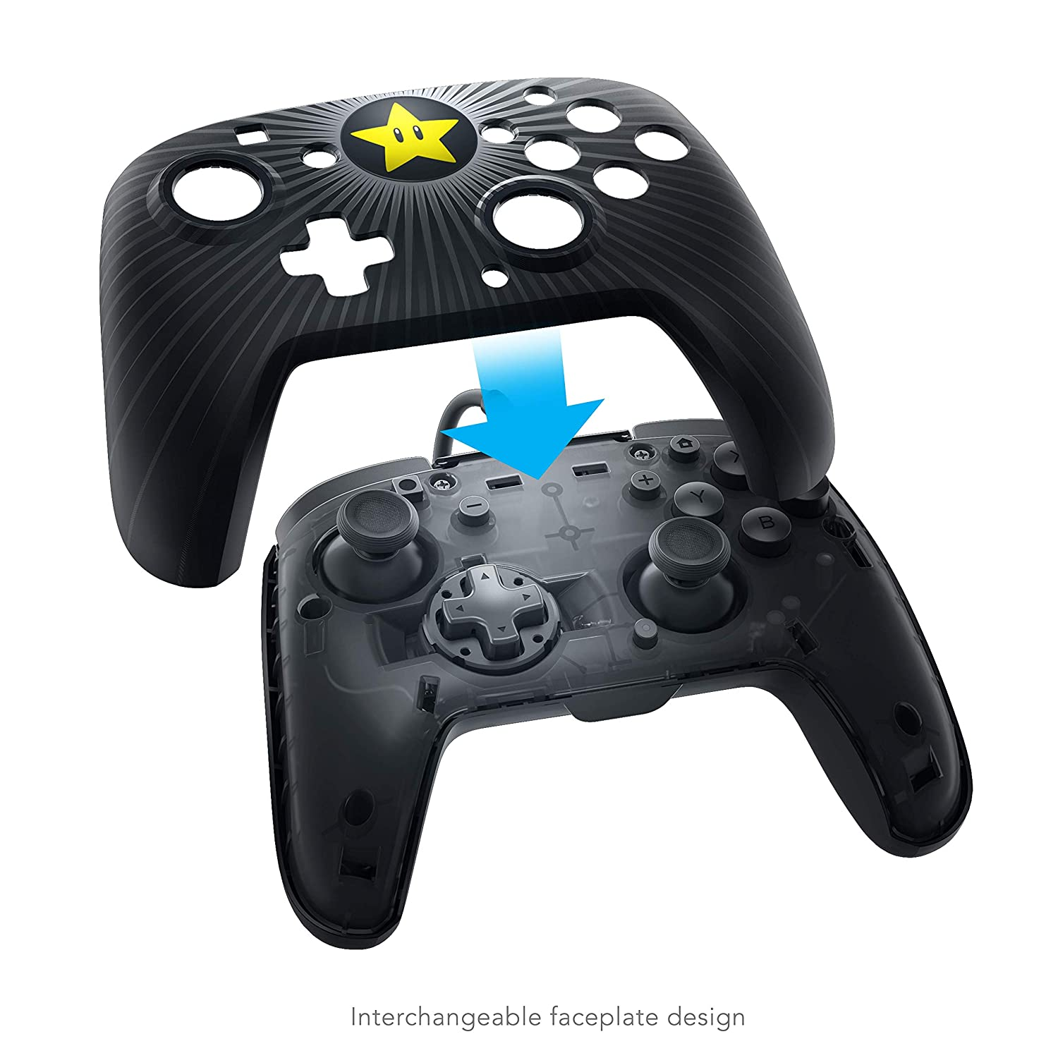 Pdp Gaming Wired Pro Controller Faceplate Black Mario Star Nintendo Switch Faceoff Video Games