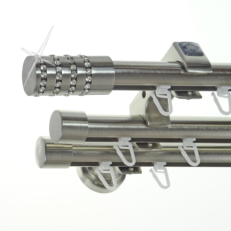 Innenlauf Edelstahl Look Gardinenstange 20mm Wandträger 3-läufig mit Kristall Zylinder H60 E39E30 II+ 1x B20I, Länge 200 cm